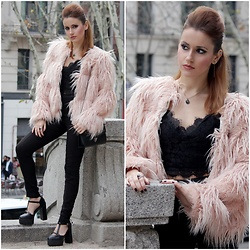 Irene Aspas - Zaful Coat, Zaful Top, Zaful Pants - Pink and black - Valentine's inspo