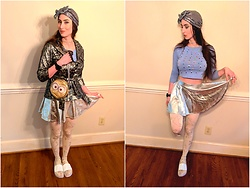 Tia - Claire's Minions Purse, Thrifted Silver 90s Jacket, Amazfit Fitness Watch, Aliexpress Origami Pantyhose, Tj Max White Sandals, Diy Eyeball Crop Top, Amazon Silver Rave Skirt - Greetings Earthlings