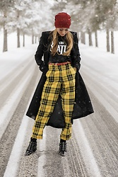 Lauren Recchia - Alice And Olivia Black Coat, Topshop Checkered Trousers, Miu Black Patent Booties, Rag And Bone Red Beanie - The Beatles