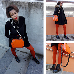 Yara Snow'z - Bershka Ribbed High Neck Sweater, New Yorker Black Dress, Calzedonia Orange Tight - Oorange Fishnet
