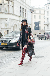 Louise Xin - Prada Etiquette Bag, Zara Red Over The Knee Boots, Prada Nappa Coat - Stockholm Fashion Week SS18 - Street style