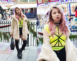 Lovely Blasphemy - Pawstar O Ring Collar, Flash You And Me Ruby Harness Black, H&M Black Shorts, Liz Lisa Faux Fur Coat, Demonia Shaker 52 Black Wedge Platform Boots, Angelic Pretty Black Boston Bag, Dolls Kill Neon Yellow Top - Neon Yellow