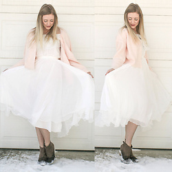 BG by Christina L - Stylewe White Dress, Taupe Booties, Blush Cardigan - Blush + Winter White