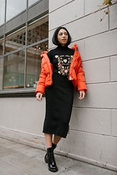 Kim Seidensticker - H&M Puffer Jacket, Zaful Knit Skirt, Zaful Embroidered Sweater, Jeffrey Campbell Shoes Boots - Winter Knits
