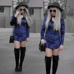 Sammi Jackson - Primark Black Fedora, Zaful Sunglasses, Fahsion 71 Blue Velvet Dress, Oasap Quilted Flap Bag, Boohoo Thigh High Boots - BLUE VELVET DRESS