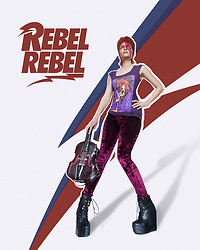 Irina Petrova - Brett66 Aladdin Sane Women's Fitted Scoop T Shirts, Retro Velvet Pants, Lost Ink Black Boots, Shengli2015 Violin Bag - Rebel Rebel