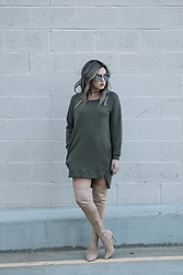 Ali C - Charlotte Russe Sweater Dress, 4th & Reckless Over The Knee High Boots - MOOD