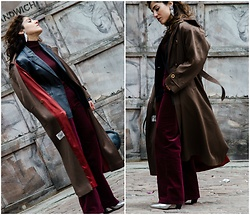 Christina N -  - Burgundy Monochrome with Oversized Trench Coat