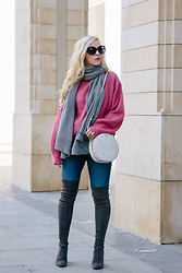 Meagan Brandon - Pink Sweater (Under $20!), Cashmere Scarf (Similar), Brahmin 'Lane' Crossbody, Ag Denim, Stuart Weitzman Boots - The Perfect Pink Sweater