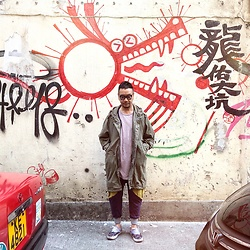Mannix Lo - Midwest Vintage M 51 Parka, Cotton On Washed Tee, Online Shop Patchwork Sweat Pants, Comme Des Garcons X Vans Era Sneakers - Hong Kong's Graffiti style