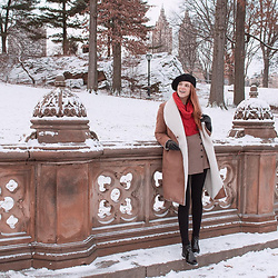 Sonja Vogel - Stradivarius Skort, S.Oliver Sherling Coat, H&M Cabe Knit Sweater, Black Beret, Sacha Patent Chelsea Boots - Snow in Central Park, NYC