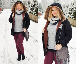 Kasia Koniakowska - Rosegal Caot, Zara Blouse, Rosegal Necklace, Zaful Scarf, Bon Prix Shoes - Winter style plus size