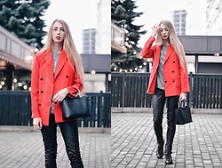 Lisa - Shein Jacket, Shein T Shirt - Red jacket
