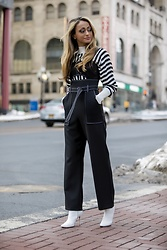 Lauren Recchia - Topshop Chunky Striped Knit, Topshop Jumpsuit, Manolo Blahnik White Booties - Chunky Knits and Topstitch