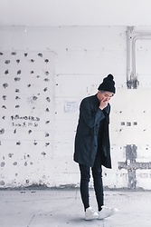 Samuel Lam - New Era Beanie, S For Chinese Coat, Publish Brand Jogger Pants, Alexander Mcqueen White Sneakers - Chinese in Black