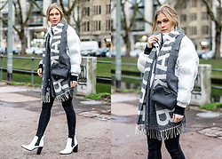 Sunnyinga - Mango Statement Scarf, Mango Jacket, Gap Skinny Jeans, River Island Boots, Karl Lagerfeld Cross Body Bag - Statement Scarf x White Jacket
