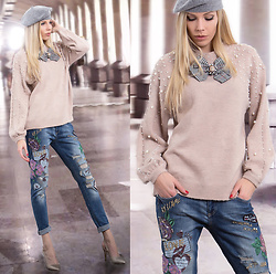 Dora D. - Grey Beret, Wool Sweater With Pearls, Embroidered Jeans - PEARLS do go with JEANS