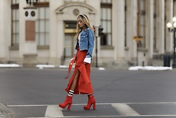 Lauren Recchia - J Brand Cropped Denim Jacket, Derek Lam 10 Crosby Belted Midi Skirt, Prada Red Boots, Gucci Socks - Belted Midi Skirt