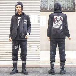 @KiD - Anti War Beenie, Lawry's Farm Custom Jacket, Violent Enka Vinyl Kill 殺, Crust Pants, Dr. Martens Combat Boots - JapaneseTrash294