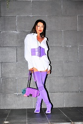 Nekane Smith - Balenciaga Boots, Chanel Bag - Purple