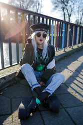 Kimi Peri - Underground Vegan Triple Platform Creepers, Green Socks, Black Tights, Vii & Co. Acid Wash Boyfriend Jeans, Vii & Co. Blind For Love Beret, Choker, Arizona Vintage Navajo Bomber Jacket, Vii & Co. Vintage Glasses, Mercredi Clothing This Could Be Us Tee, Solrayz Jewelry Moonstone Necklace - Blind For Love