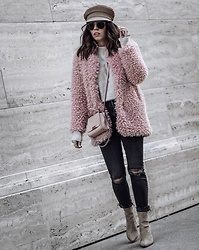 Flaunt and Center - Shaggy Coat - Pink shaggy coat