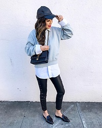 Sasa Zoe - Tassel Mules, Less Than $50 Sweatshirt, Less Than $100 Moto Pants, Hat - HOW TO MAKE SWEATSHIRT LOOK STYLISH