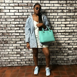 PaitenLeJae - Reebok Classics, Thrift Jean Jacket, Custom Made Silk Dress, Kate Spade Blue Purse - Feeling Blu💎