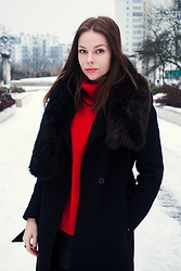 Julita B -  - Red sweater in winter