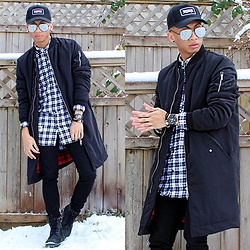 Paul Zedrich - Quay High Keys, H&M Long Bomber Jacket, H&M Long Plaid Shirt, H&M Skinny Jeans, Timberland Black Timberlands, Obaku Watch, Tevin Vincent Skinny Love Bracelet, Paul Hewitt Phrep Anchor Bracelet - BLVCK SOUL.