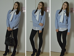 Jimena Palermo - H&M Blouse, H&M Sweater, Tally Weijl Jeans, Guess Bag, Deichmann Heels - Blue Sweater