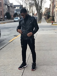 Justin Price - H&M Moto Faux Leather Jacket, Forever 21 Zippered Moto Joggers, Forever 21 Silver Ring, Forever 21 Black Turleneck - Chill Out