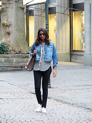 PAMELA - H&M Denim Jacket, Louis Vuitton Shoulder Bag, Topshop Slim Fit Straight Denim, Lacoste White Sneakers, H&M Gingham Shirt, Givenchy Cat Eye Sunglasses - CHECKBOARD PRINTS
