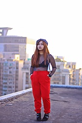 Kate Cenon - Pull & Bear Mesh Top, Sixty Nine Bralette, Stradivarius Red Joggers, H&M Buckled Boots, Asos Berret, Victoria's Secret Pouch - Wear Red Day