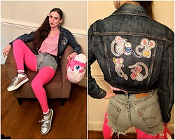 Tia - Thrifted, Modified By Me 90s Upcycled Jacket, Thrifted Geometric Pink 90s Shirt, Thrifted, Cut By Me Vintage Levis, Walmart Chick Bag, Tj Max Sequin Shoes - 90s Upcycled Vintage