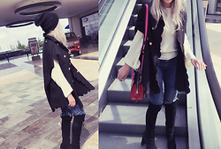 She is Magique Oh my Dior - Romwe Cape, Free People Sweater, Stuart Weitzman Boots, Marc By Jacobs Bag - Suelta el control