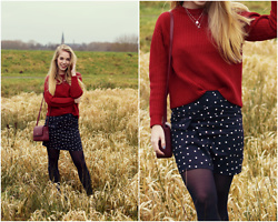 Daphne G - Mimi Et Toi & Anna + Nina Necklace, My Jewellery Skirt, Hugo Boss Bag, Mango Knit - Red and dots