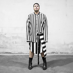 Wyatt Morgan - Asos Oversized Striped Shirt, Monki Striped Dress - 29 01