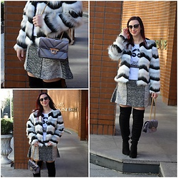 Rebel Takipte - Lovelywholesale Fur Coat, Ami Club Wear Over The Knee Boots, Dresslily Grey Bag - Over the Knee Boots