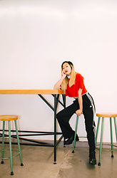 Linda Ding - Adidas Red Crop Top, American Apparel White Turtleneck, Adidas Track Pants, Vagabond Black Boots - Red Envelope