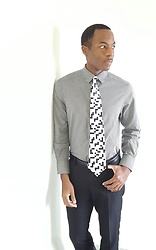 Thomas G - Claiborne Button Down Dress Shirt, Van Heusen Dress Pants, Dino Romaro Crossword Theme Necktie Handmade, Contributing Writer At Scripted Sweetz, Contributing Writer At Virily - Tie + Dress pants