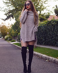 Aliz M - Zara Knitwear, Public Desire Over The Knee Boots - Cozy Knit