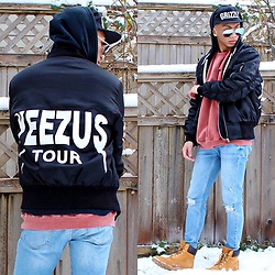 Paul Zedrich - Diamond Supply Grizzly Snapback, Quay High Keys, Yeezus Tour Bomber Jacket, Asos Distressed Sweater, Levi's® Light Washed Denim, Timberland Timberlands - Y E E Z Y.