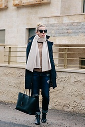 Meagan Brandon - Burberry Trench, Beige Scarf, Tan Turtleneck (Similar), Ag Boyfriend Jeans, Saint Laurent Tote, Marc Fisher Boots (On Sale!) - Navy Trench Coat Outfit