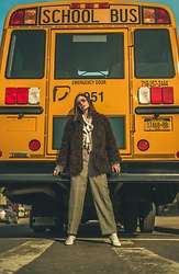 Sami Mauskopf - Faux Fur Jacket, Zara Houndstooth Trousers, Free People White Booties - All Aboard the Magic School Bus