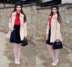 Natalia Uliasz - Mohito Beret With Pearls, Mohito Coat, Dresslily Red Blouse, Orsay Velvet Skirt, Sh Bag, Deezee.Pl Heels - Parisian chic