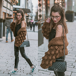 Stephanie Van Klev - Chic Wish Chicwish, Chanel Bag, Twin Set Lace Top, Asos Vinyl Pants, Sandro Sneakers - Bobble Cardi & Vinyl Pants