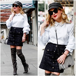 Zia Domic - Cece By Cynthia Steffe Ruffled Top, Storets Tweed Skirt, Pour La Victoire Otk Boots - Ruffles & Tweed