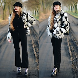 "Karolina N. - H&M Faux Fur, Rosegal Flare ""Rings"" Pants - WITCHY VIBES."