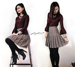 L Z - J. Crew Sweater, Vintage Pleated Skirt, Cynthia Rowley Lace Up Booties - Burgundy & Pleated Skirt